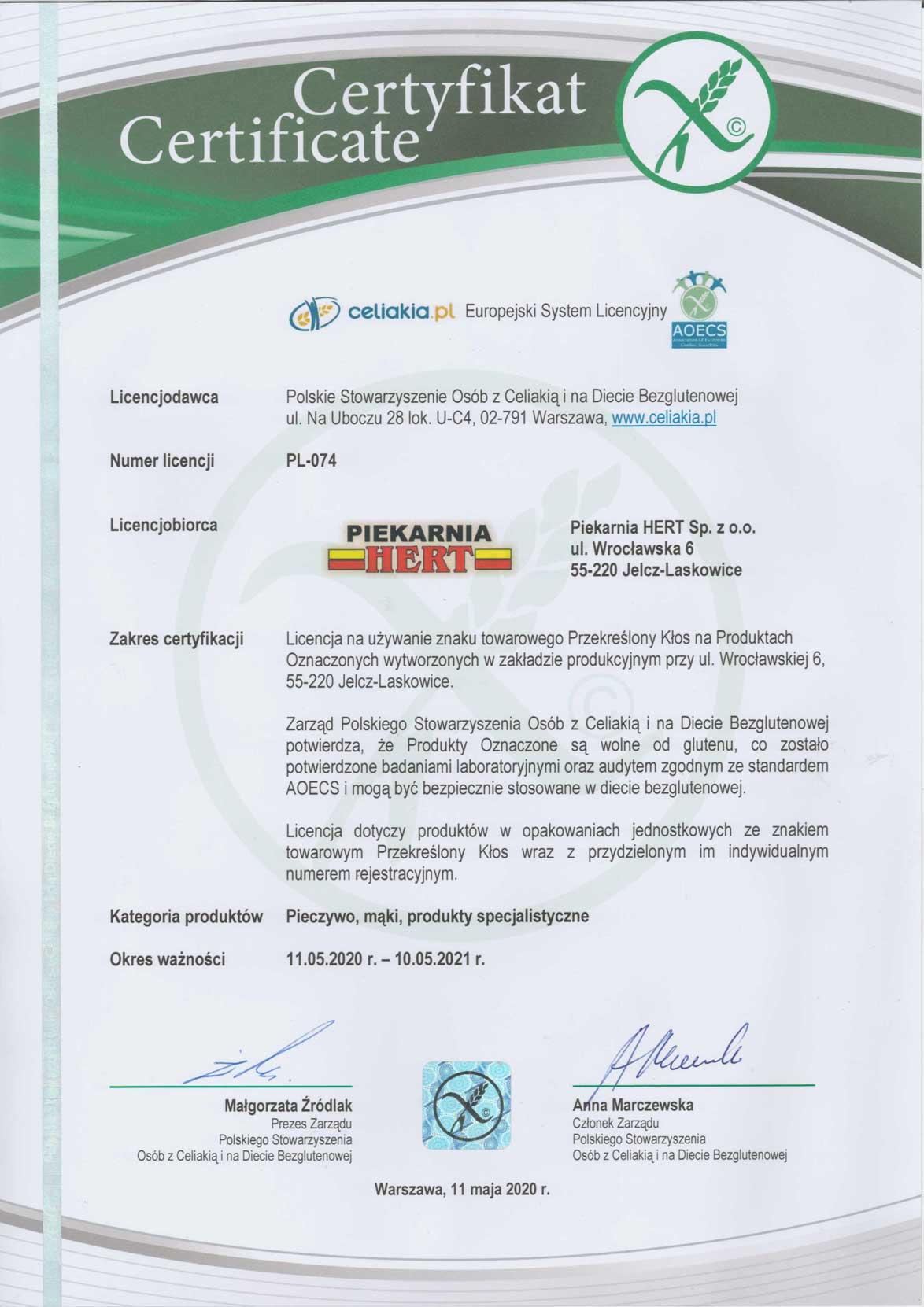 Certyfikat Celiakia